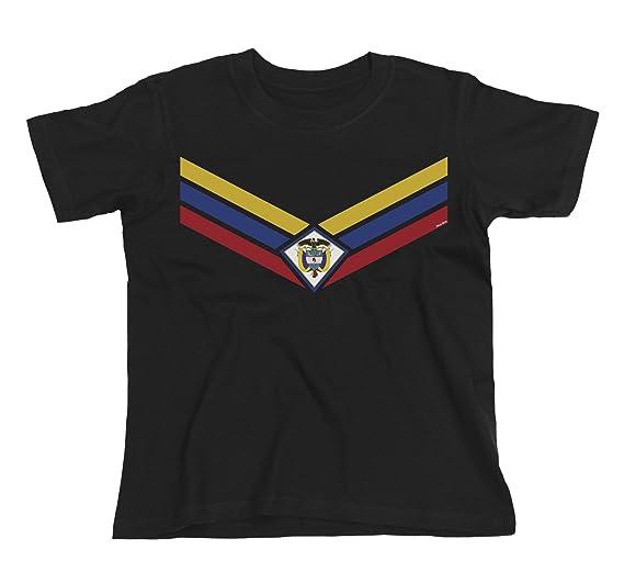 Kids Colombia Team Emblem Niños O Niñas Fútbol Camiseta Copa Mundial 2018 Retro Sports
