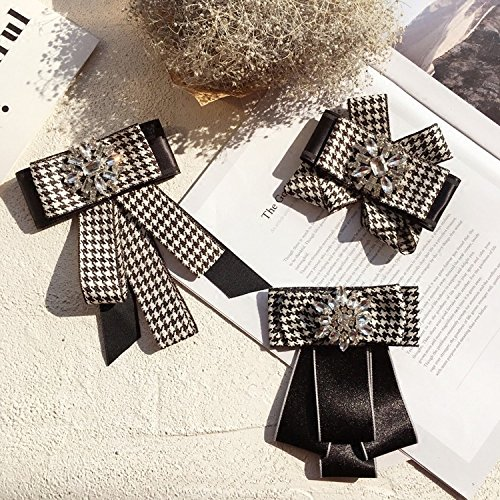 Fashion Korean temperament Houndstooth dress with black and white bow tie large stones brooch pin women girls Generic
