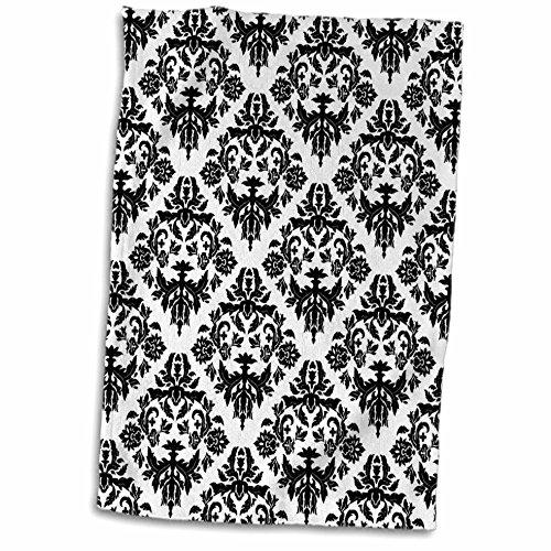 Damask Hand Towel - 3dRose Black and White Damask 2 Towel, 15
