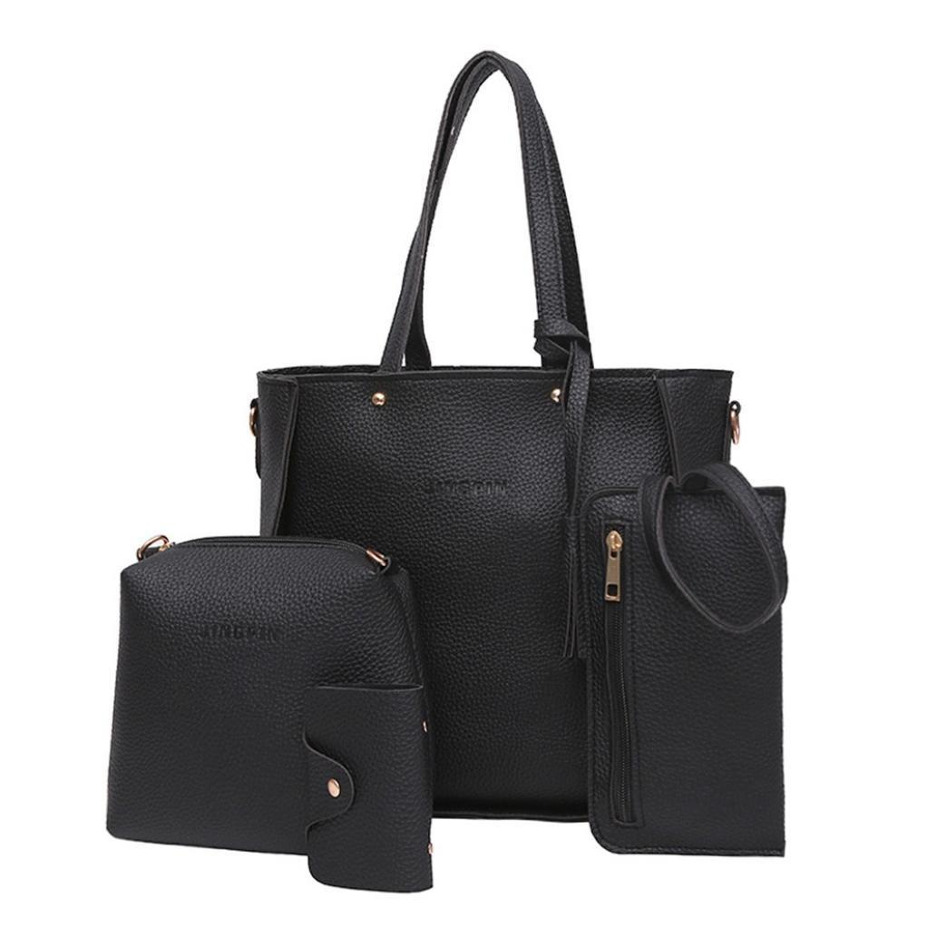 Toamen Bag Bolso De Cuero Del PatróN Del Litchi De Las Mujeres 4Pcs + Bolso De Crossbody + Bolso + Cartera (A): Amazon.es: Ropa y accesorios