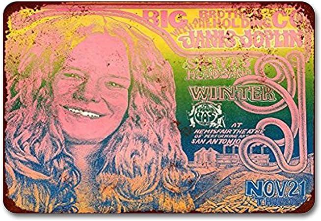 None Brand 1968 Janis Joplin in San Antonio - Cartel de metal con reproducciones de aspecto vintage, retro de calle, jardín rústico para hombres, decoración de pared, cocina: Amazon.es: Hogar