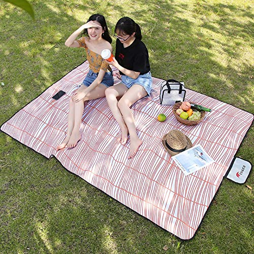 HWShop Extra Large Folding Picnic Blanket Waterproof Backing Backing Backing Travel Picknick Rug Portable Feuchtigkeit Proof Pad Washable Rasenmähen für Outdoor, Strand, Camping mit Griff B07PQVXM8W | Überlegen