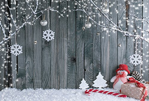FiVan  Wood and Snowman Design Photo Backdrop For Winter Home Party Pictures Baby Children Studio Xmas Portraits Background FT-5899 -