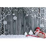 KonPon 7x5ft Wood Christmas Photography Backdrop Seamless Backdrop Snowflake Vintage Christmas Background Snowman Backdrop Party Booth Prop KP-440