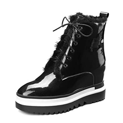 Women Patent Leather Wedges Snow Boots Winter Waterproof Lace Up Ankle Boots