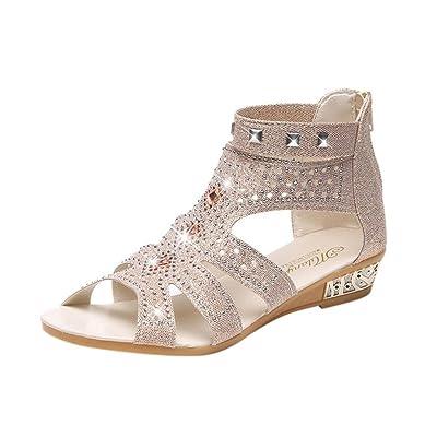 d7e59ecb2ee4 Kolylong Sandales d'été Femmes Printemps Dames PU Wedge Sandales Mode  Poisson Bouche Creux Roman Gros Strass Chaussures Ouvertes à l'arrière  Fermeture ...