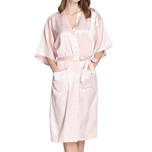 894c59a80c Admireme Women s Long Kimono Robes Bridesmaid Robe Silk Bathrobe Dressing  Gown Satin Robe for Wedding Party