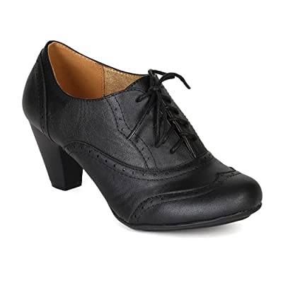 Women's Cuban Chunky Heel Lace-up Ankle Booties Oxford Shoes | Oxfords