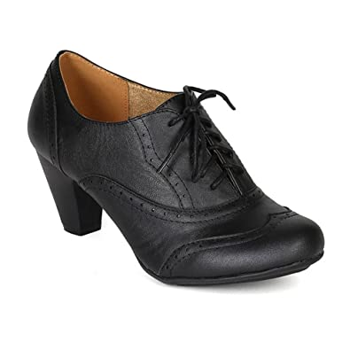 efde18c8f1ae Women s Cuban Chunky Heel Lace-up Ankle Booties Oxford Shoes Black 5.5