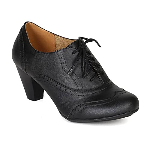 a61c6f840b9f9 Women's Cuban Chunky Heel Lace-up Ankle Booties Oxford Shoes
