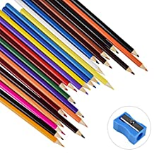 Colour Pencils, Zubita 24 colours Artist Grade Colour Pencils Set with Pencil Sharpener