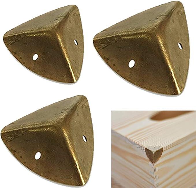 Forma Decorativo Cubierta Armario Mesa Maletero Muebles Patas mesa Regalo Caja Madera Metal Protector Esquina Caja Protectora Lat/ón Vintage