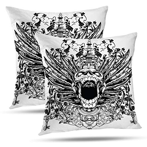 Batmerry Halloween Thanksgiving Decorative Pillow Covers 18x18 inch Set of 2,Winged Tattoo Punk Art Angel Rock Tribal Viking Scream Warrior Throw Pillows Covers Sofa Cushion Cover Pillowcase ()