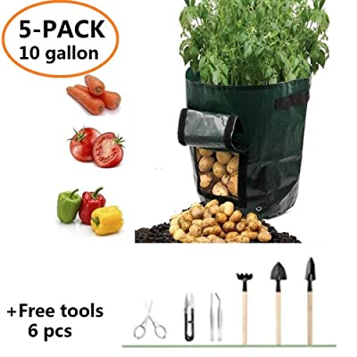YOQXHY Potato Grow Bags 10 Gallon Garden Vegetables Planter Bag with Handles and Access Flap for Planting Potato Carrot Onion Taro Radish Peanut, 5 Pack Bags & 6 Pcs Free Tools : Garden & Outdoor