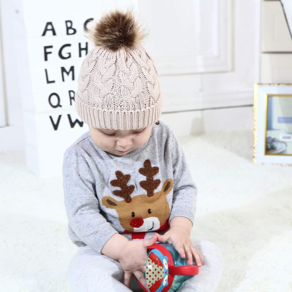 DEELIN Moda Mamá Y Bebé Tejer Mantener Gorras De Sombrero Caliente ...