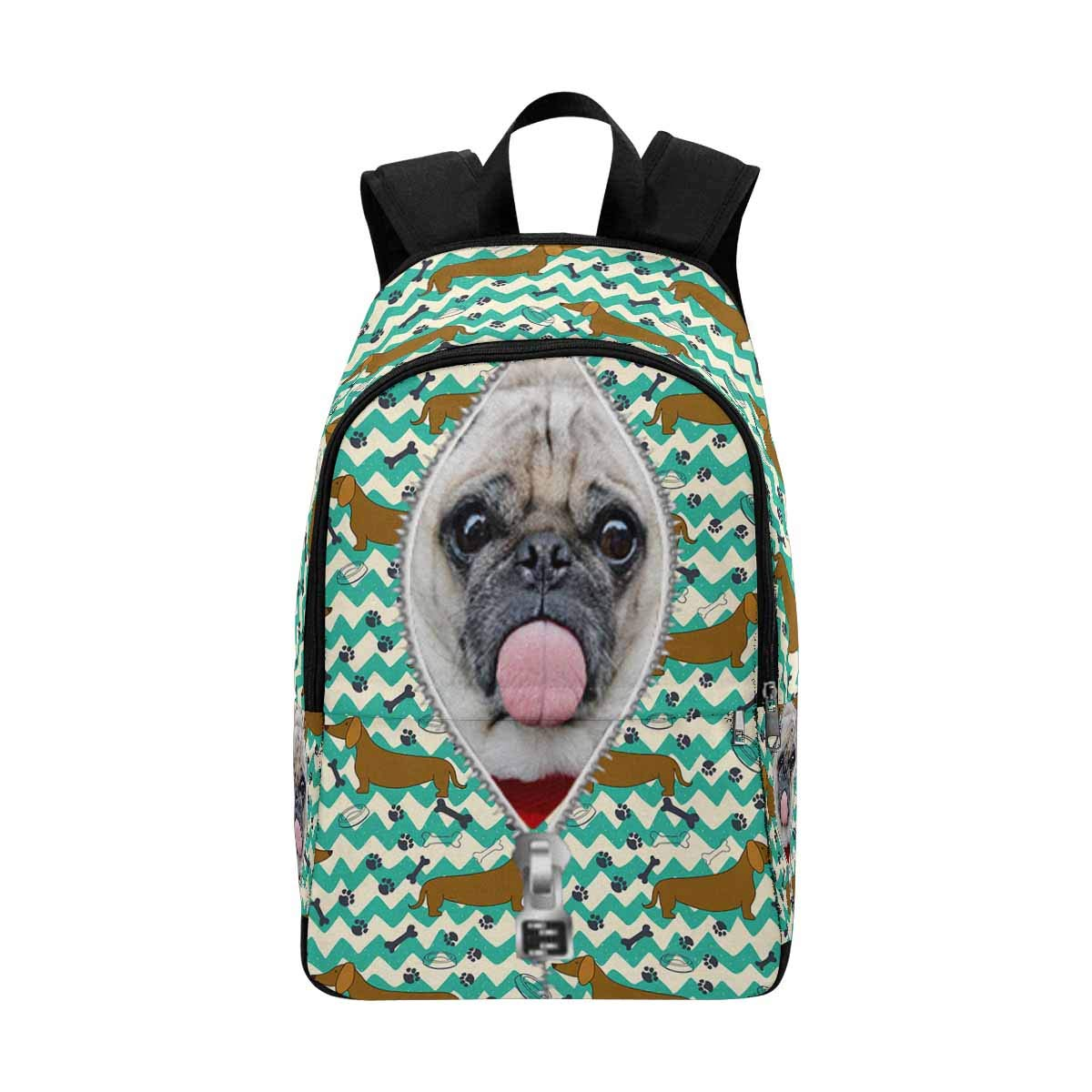 Custom Personalized Photo Pet Face Backpack Bookbags Casual Daypack Dog Paw Chevron