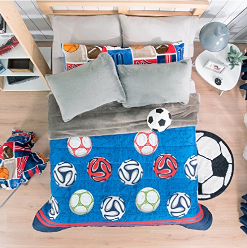 LIMITED EDITION SOCCER TEENS BOYS SOFTY COMFORTER WITH SHERPA VERY THICK AND WARM 1 PCS QUEEN SIZE by JORGE'S HOME FASHION
