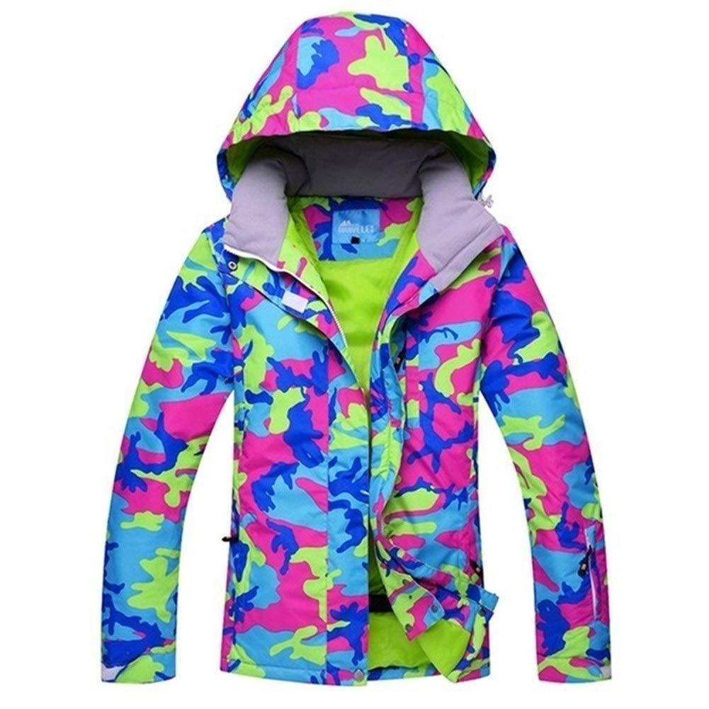YUMUYMEY Frauen Skijacke Bunter Druck Snowboarding warme wasserdichte Winddichte Jacken Kleidung