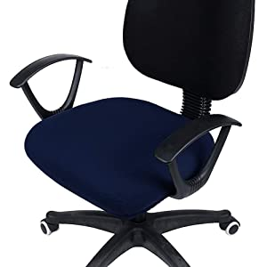 smiry Stretch Jacquard Office Computer Chair Seat Covers, Removable Washable Anti-dust Desk Chair Seat Cushion Protectors - Navy Blue