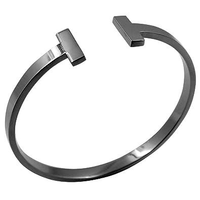 Amazon.com: Brazalete unisex de acero de titanio con diseño ...