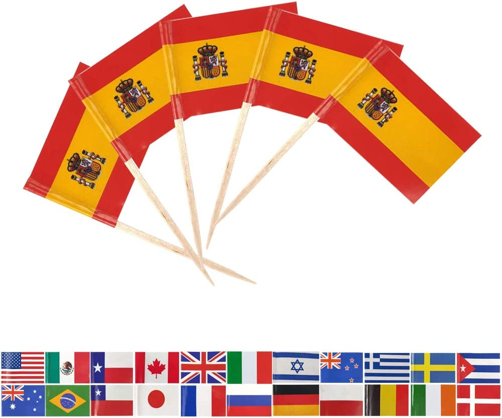 Tectsia Europe Country Spanish Toothpick Flag, Spain Flags, 100 Pcs Cupcake Toppers Flag, Small Mini Stick Flags Picks Party Decoration Celebration Cocktail Food Bar French Cake Flags