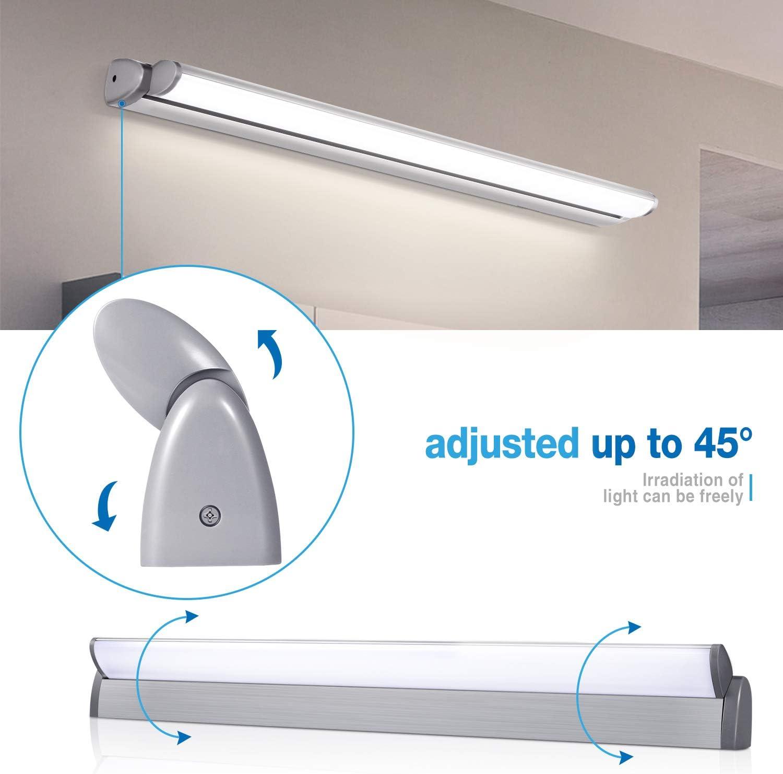 Classe /énerg/étique A+ OOWOLF Lampe pour Miroir LED ajuster la direction IP44 18W 1500lm Lampe Armoire Miroir Applique Murale Int/érieure Moderne Luminaire Salle de Bain 4000K Blanc Neutre