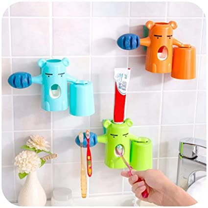 zuolan pared 3 en 1 Little Bear dispensador de pasta de dientes con Copa y juego