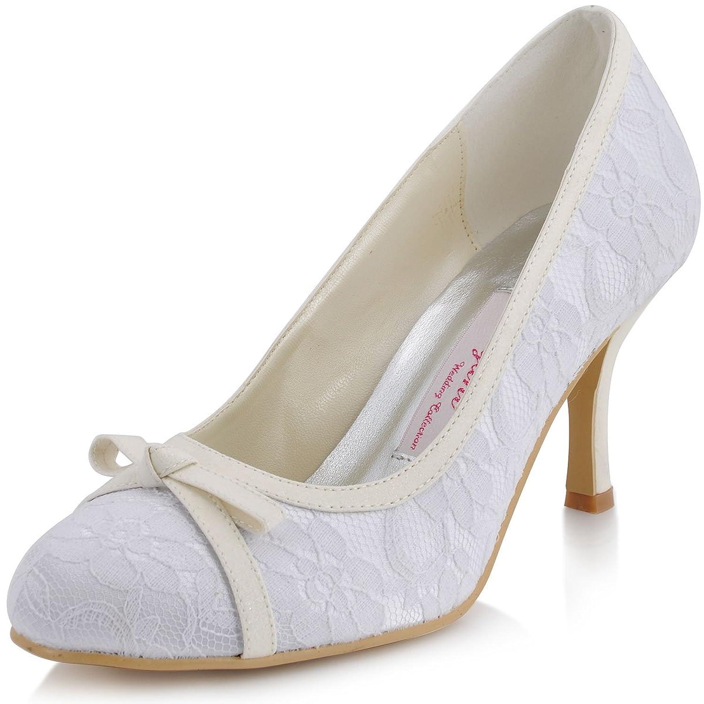 best ElegantPark Women's Bow Pumps High Heel Lace Wedding Bridal Shoes