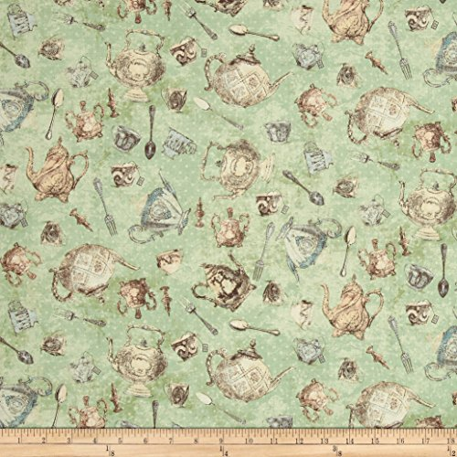 Green Tea Fabric (Tea Time Tossed Teacups & Spoons Light Mint Fabric By The Yard)