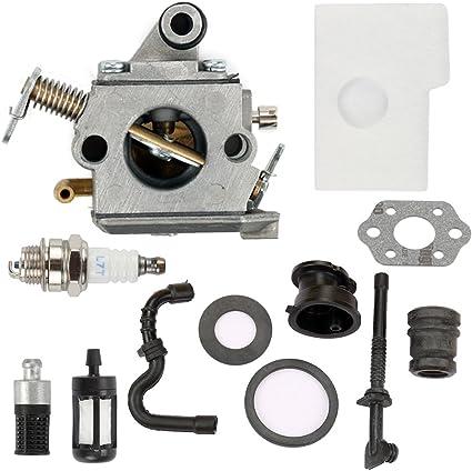 Amazon Com Harbot Ms170 Carburador Con Tune Up Kit De Filtro De Aire Para Stihl 017 018 Ms180 Ms170 C Ms180 C Motosierra C1q S57 A 1130 120 0603 Jardín Y Exteriores