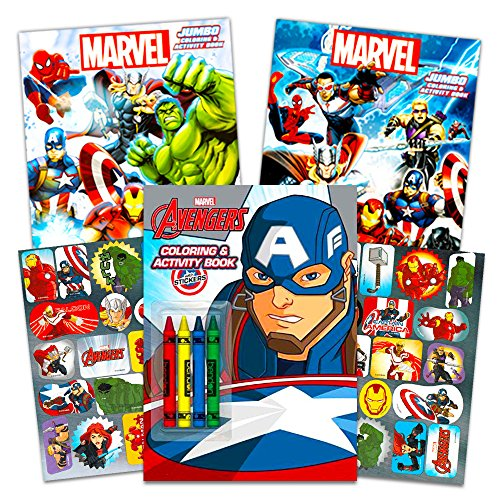 Super Heroes Coloring Pages (Marvel Avengers Coloring Book Super Set with Crayons (3 Jumbo Books - Over 260 Pages Total Featuring Captain America, Thor, Hulk, Iron Man and)
