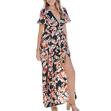 99ac46da2392 Suma-ma Womens Floral Print Playsuits Chiffon Slit Long Jumpsuits V Neck Wide  Leg High Waist Rompers at Amazon Women s Clothing store