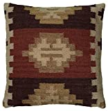 Rizzy Home T05986 Decorative Poly Filled Throw Pillow 18'' x 18'' Beige/Rust