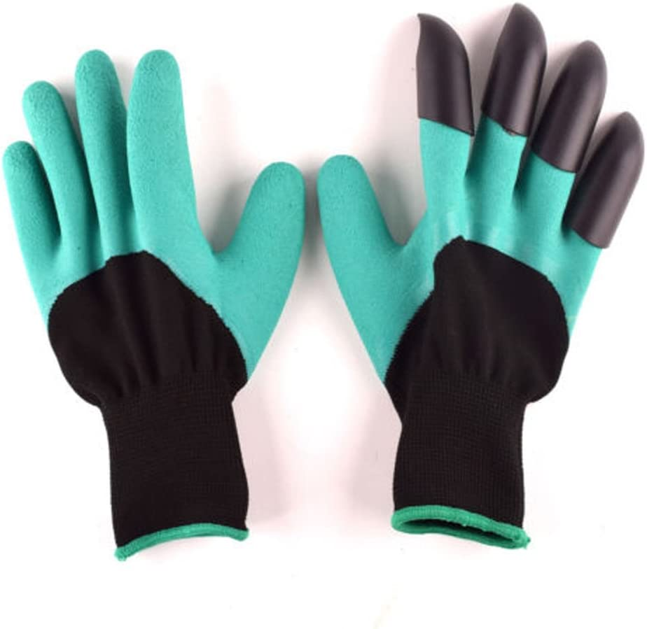 Andyshi Hot New Garden Genie Gloves for Digging & Planting with 4 ABS Plastic Claws Durable Waterproof gardening Gloves Tool(1 Pair)