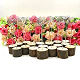 senover Rustic Real Wood Base Wedding Table Name Number Holder Party Decoration Card Holders Picture Memo Note Photo Clip Holder (20pcs table numbers)