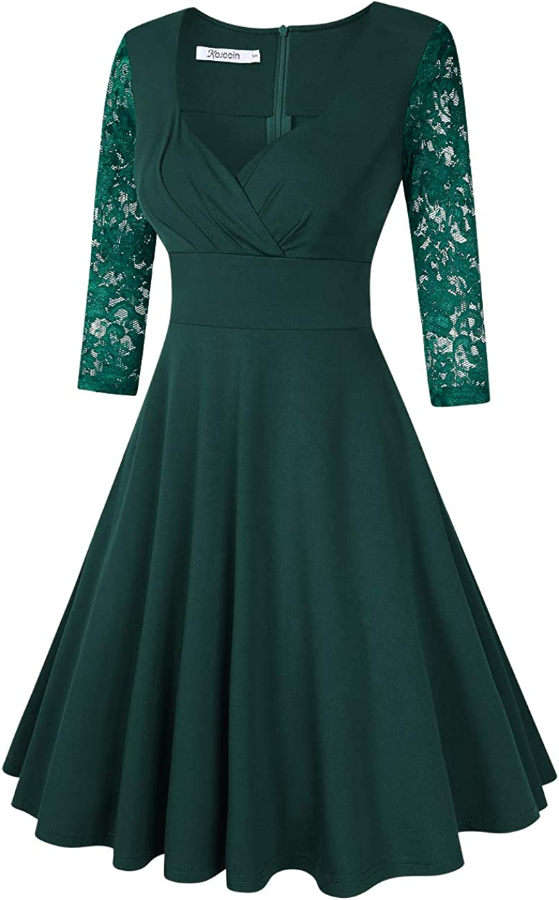KOJOOIN Womens Vintage 1950s Cocktail Dresses Retro Swing Rockabilly Party Dress