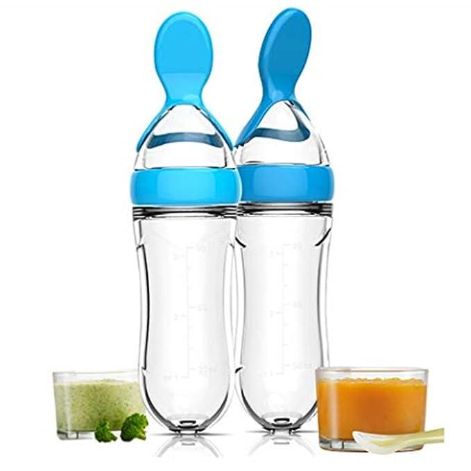 Isuper Biberón bebé,Biberón con cucharón de Alimentación,Cuchara de alimentación dispensadora de Silicona Seguro alimentador para Bebés (Azul)