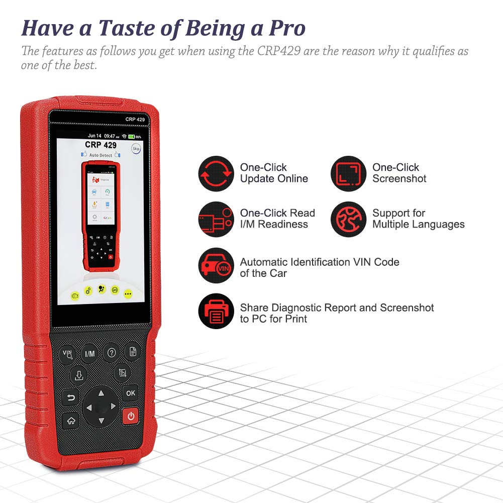 LAUNCH CRP429 OBD2 Scanner Diagnostic Scan Tool SRS ABS Full System Code Reader Reset Functions of Oil Reset, EPB, BMS, SAS, DPF, ABS Bleeding, Injector Coding and IMMO (Advanced version of CRP429C) by LAUNCH (Image #6)