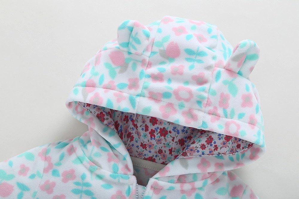 Mumustar Baby Boy Girls Fleece Romper Jumpsuit Zipper Hooded Floral Print Infants Warm Long Sleeve Outfits Pajamas 0-2 Years