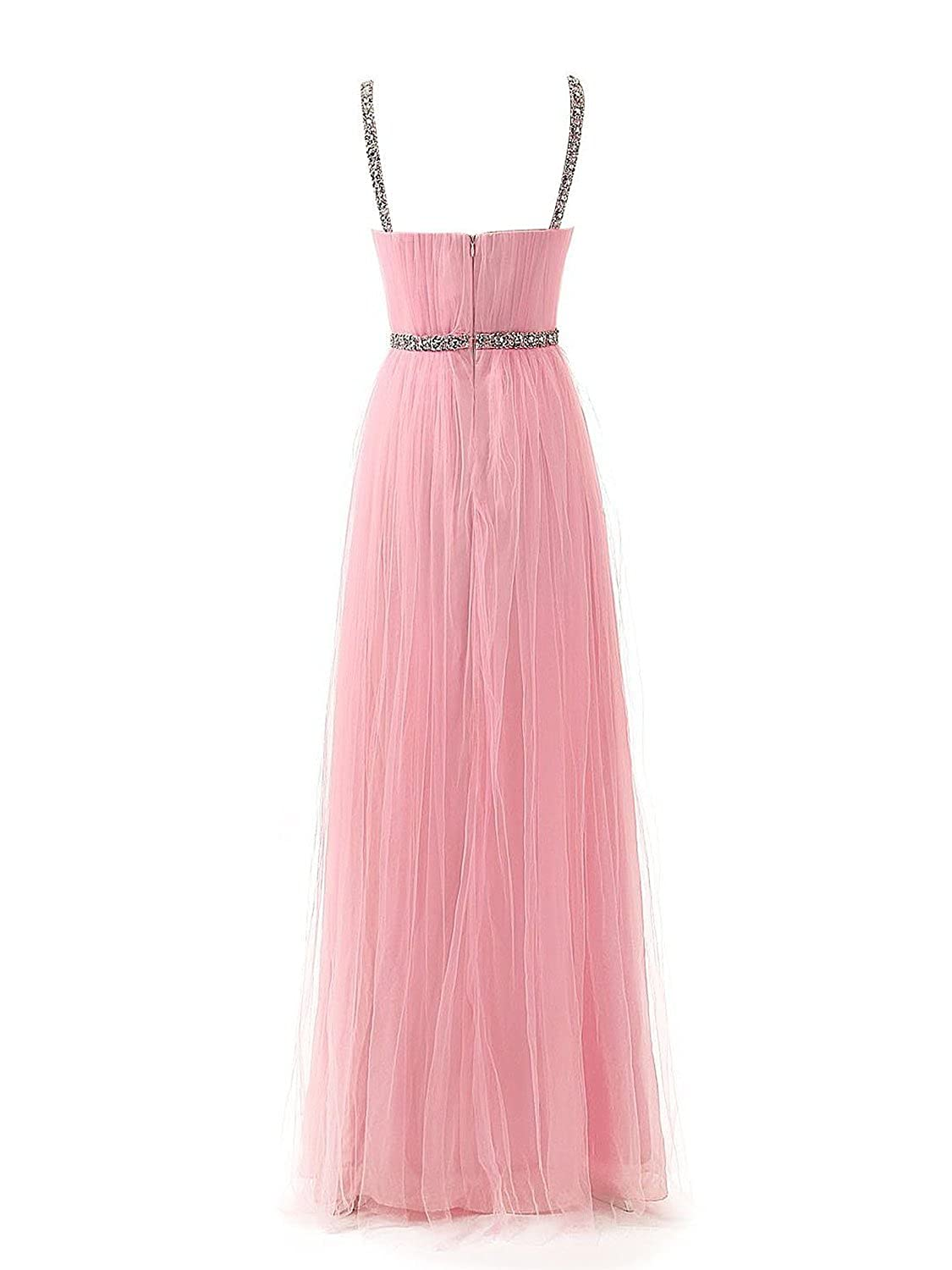 Carnivalprom Women's Floor Length Spaghetti Straps Tulle Bridesmaid Dress Evening Prom Gown with Crystals Embellished