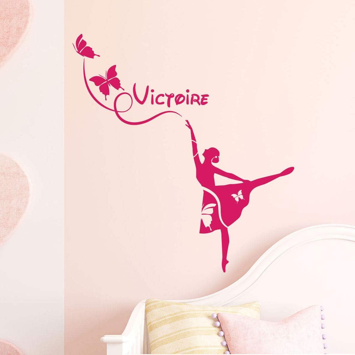 Sticker Autocollant F/ée sur la Lune Stickers Pr/énom Personnalis/é Violet D/écoration Murale Chambre Enfant 2 Planches de 30 x 20 cm et 60 x 25 cm