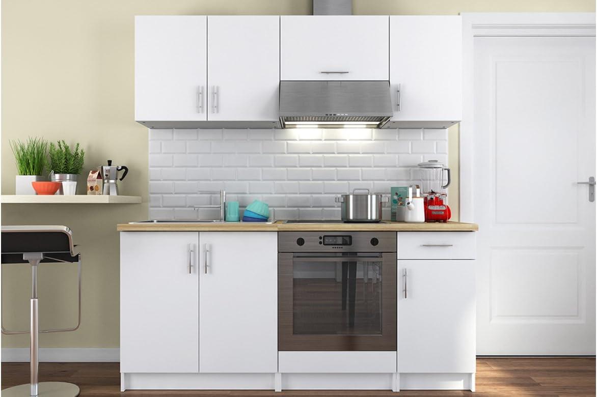 Cocina completa blanca con encimera de madera 180 cm: Amazon.es: Hogar
