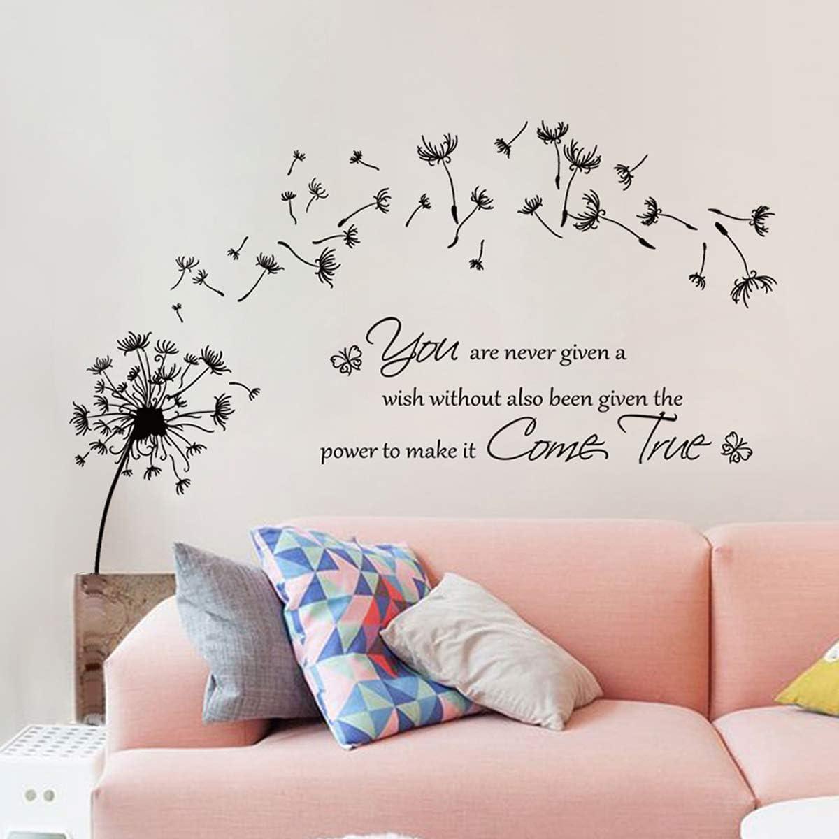 Decalmile Dandelion Wall Sticker Sayings And Quotes Dandelion Wall Sticker Bedroom Office Living Room Wall Decoration Amazon De Kuche Haushalt