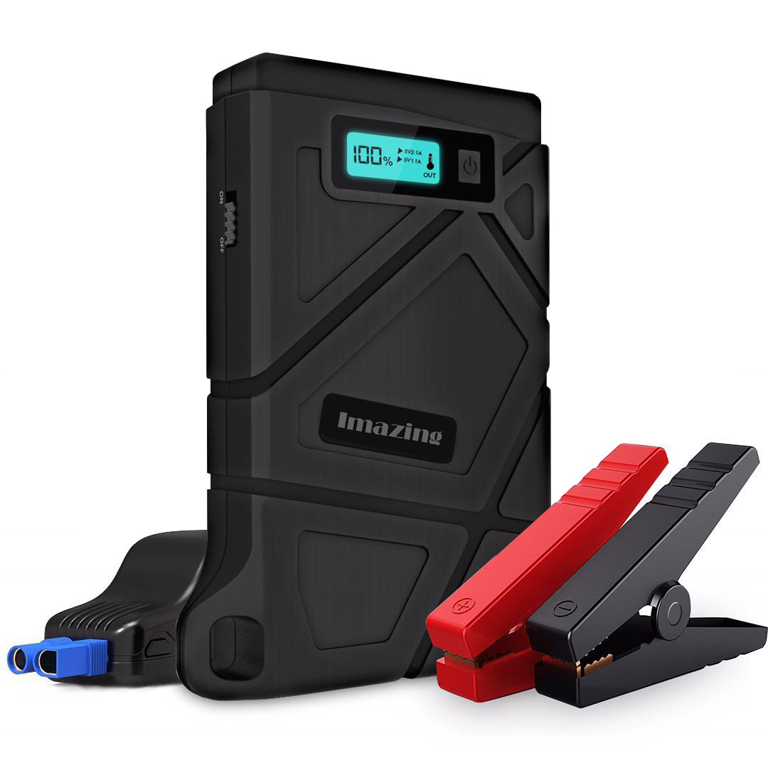 Imazing Portable Car Jump Starter 400A Peak 8000mAH (Up to 3.5L Gas or 2L Diesel Engine) Auto Battery Booster Power Pack Phone Power Bank With Smart Charging Ports
