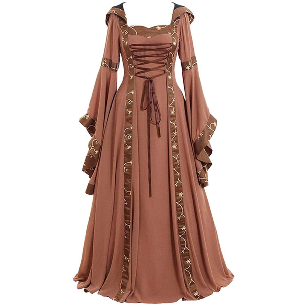 Women Vintage Hooded Dress Medievl Patchwork Lace up Renaissance Gothic Costoms Gothic Cosplay Clothes Gowns (L, Khaki)