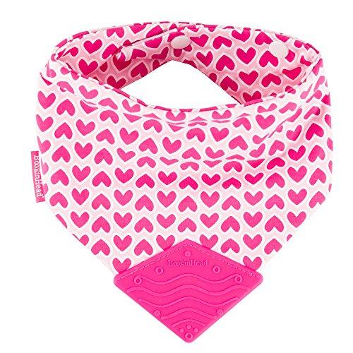 orn Cotton Bandana Teether Bib, Teething, Drool, Dribble, Feeding, Girl, Love Hearts, Pink ()