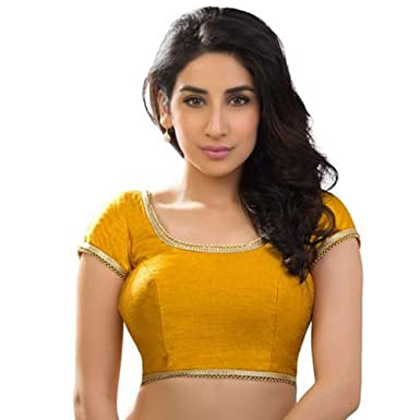 5a9623bbb793cb Bollywood Blouses Women's Simple Mustard Dupion Silk Blouse Medium at Amazon  Women's Clothing store:
