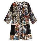 Women's Adele Velvet Duster - Open Front Long Jacket Abstract Print - XL