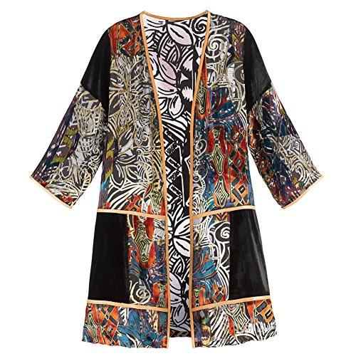 CATALOG CLASSICS Women's Adele Velvet Duster - Open Front Long Jacket Abstract Print - Small