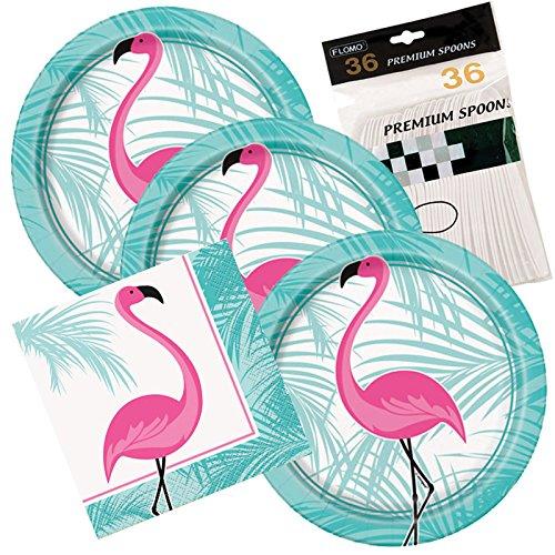 32 Dessert Plates & Napkins (Flamingo)